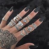 Elistelle Ring 13 pcs Vintage Frauen Damen Boho Ringe über Knöchel Finger Tip Ring Schmuck Set Silber Gold