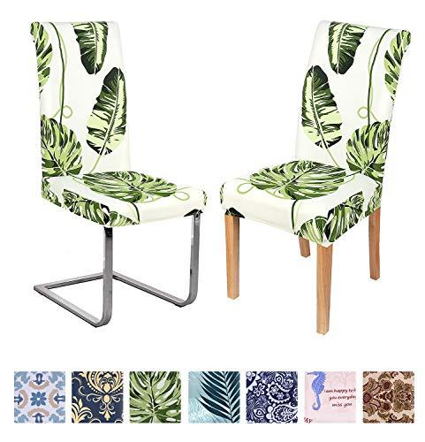 Homaxy Stretch Beschützer Schwingstuhl Stuhlhussen Blumen Set Moderne Universal Hussen für Stuhl Esszimmer, Elastische Waschbare Stuhlbezüge (4 Stück, Style 2) -