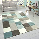 Paco Home Designer Teppich Modern Konturenschnitt Moderne Pastellfarben Kariert Beige Blau, Grösse:160x230 cm