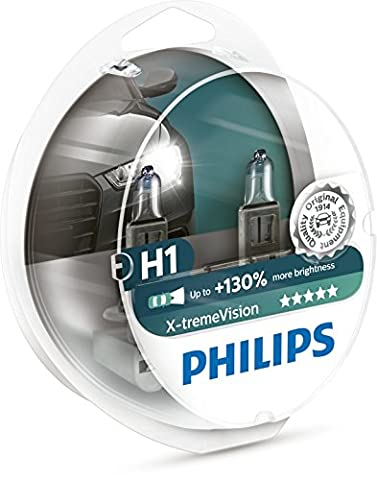 Philips 12258XV+S2 X-treme Vision Halogen Headlamp H1 12258 XV+ 12V 55W P14,5s S2 +130% 45m Longer Beam, Set of