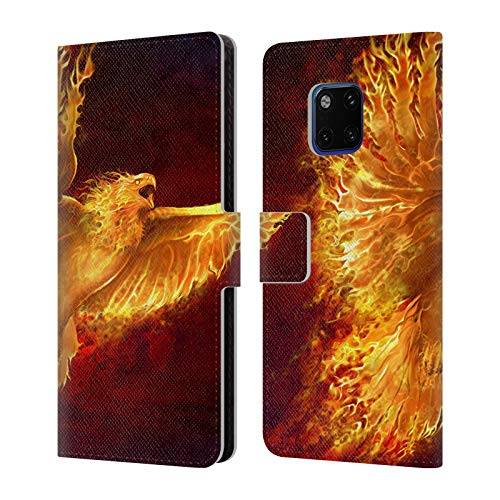 Head Case Designs Offizielle Tom Wood Phoenix Feuer Lebewesen Leder Brieftaschen Huelle kompatibel mit Huawei Mate 20 Pro - Phoenix Design