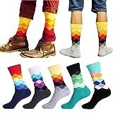 Männer Socken, Hunpta 10 Paar Mode Herren Baumwolle Farbe Block Socken Warme Bunte Diamant Casual Socken (Multicolor)