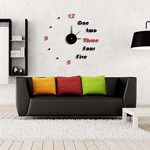 KHSKX Aufkleber Stille Wanduhren, Wanduhr Wohnkultur, minimalistischen Wohnzimmer Wanduhr Aufkleber, Geschenke, Ideen, Schlafzimmer, Wohnzimmer (Ideen Kostüm Uhrwerk Orange)