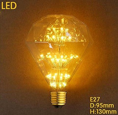 Weinlese-Edison-Glühlampe G95 Dimmbar 3W 300LM 3000 K LED-Diamond Sterne-Retro- Glühlampe Warm White AC 220-240V Energie Klasse A++ …