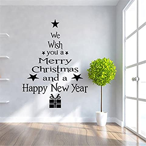 Wand Aufkleber Weihnachten brezeh Wall Paper Hingucker Weihnachtsbaum Buchstaben Stick Art Wand Aufkleber Wandbild Home Room Decor Wand Sticke BK