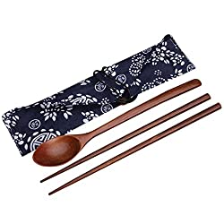 Generic Portable Wooden Chopsticks & Spoon Cutlery Sets Travel Dinnerware Suit Environmental Wood Tableware with Cloth Pack Gift