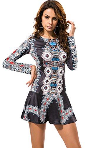 Langarm Rückenausschnitt Barock Ethnisch Stammes Afrikanische Aztekisch Paisley Mini Minikleid Ausgestellte A-Linie A-linien Kleid Schwarz 2XL