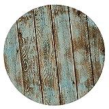 B Blesiya Tovaglia Rotonda in Poliestere Copertura Impermeabile con Bordo Elastico - Shabby Wood 1.5m
