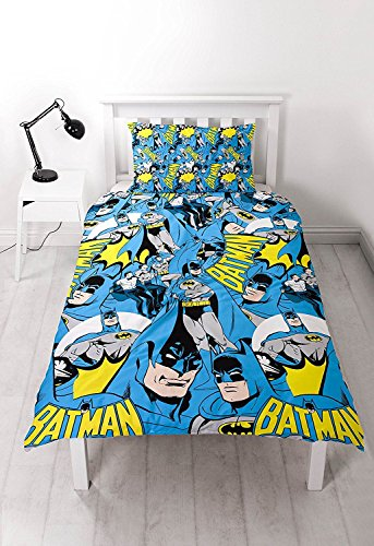 Offizielles Lizensiertes DC Comics Batman blau grau gelb Single Bettbezug (Blau Und Gelb Bettbezug)