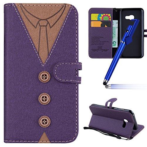 MoreChioce kompatibel mit Galaxy A3 2017 Hülle,kompatibel mit Galaxy A3 2017 Leder Flip Case, Lila Nähen Krawatte Stoff Schutzhülle Klapptasche Brieftasche Magnetverschluß mit Kartenfach,EINWEG