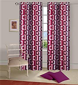 Curtain(Set of 2 piece),Printed Eyelet Polyester Living Room Window Curtain , Size : Width x Length 48 Inch x 60 Inch, Multicolor)