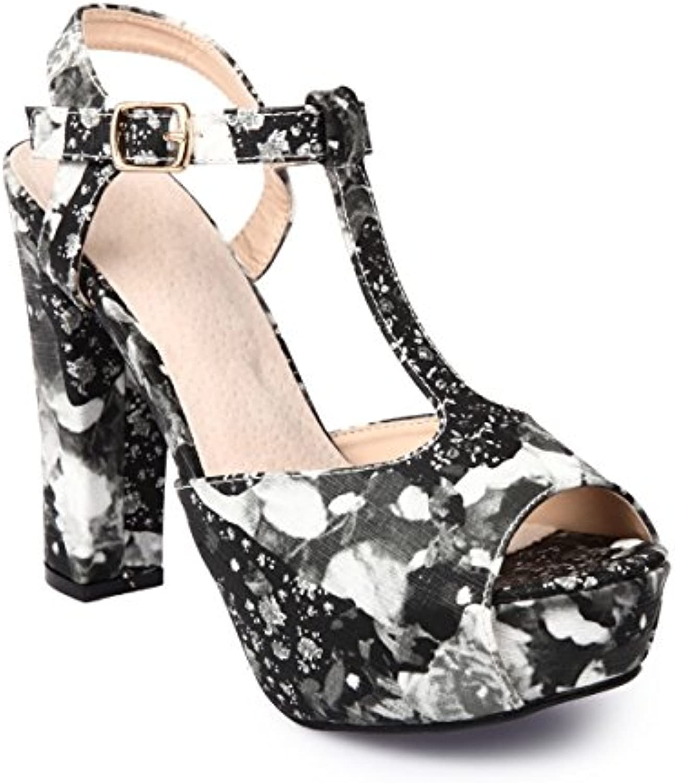 La Modeuse-Sandalias con tacón peep-toes con motivos de flores -