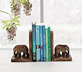 Decorative Book Ends Rack Display CD DVD Stand Holder Organizer Hand Carved Wooden Elephant Shaped Bookend Pair Bookshelf For Home Office Decor