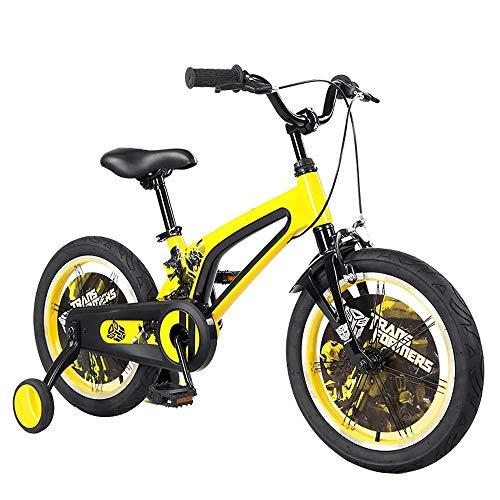 YUMEIGE Kinderfahrräder Kinderfahrräder mit Stützrädern Freestyle-Fahrrad mit Klingel Rennrad 16 Zoll Geeignet für 3-8 Kinder Jahre Gelb