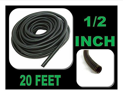 Wire Loom Black 20' Feet 1/2 Split Tubing Hose Cover Auto Home Marine by Nippon America Black Wire Split-loom