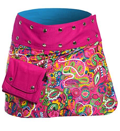 Indische Jeans (ufash Minirock aus Indien, Sommerrock kurz, Wenderock, Wickelrock Goa Gypsy Hüftschmeichler, Pink)