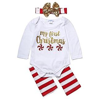 arshiner Neugeborene Infant Baby Mädchen Weihnachten Strampler und Leggings mit Haarband Gr. 90 cm, C