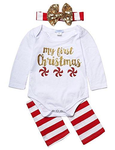 Arshiner recién nacido bebé niña Pelele de Navidad y Leggings con diadema