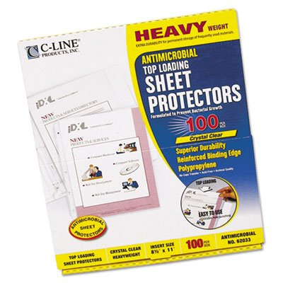 C-line - Top-Load Sheet Protector,Antimicrobial,Heavyweight,100/BX,CL, Sold as 1 Box, CLI62033