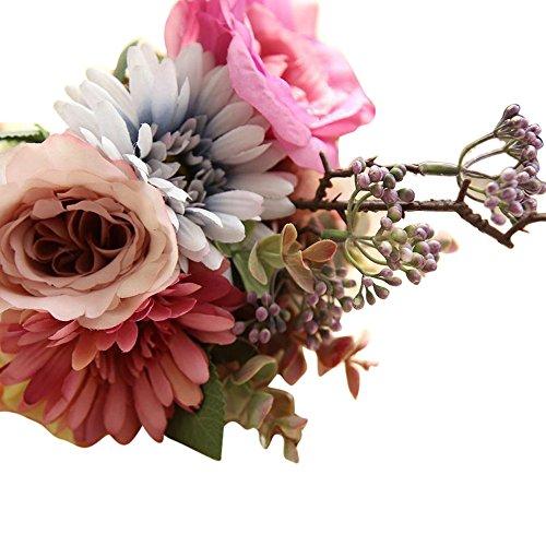 Landfox fiori artificiali fiori finti piante artificiali artificiale fiori fiore artificiale pianta finti prugna fiorire matrimonio floreale mazzo festa arredamento decorazioni interno bomboniere vaso rose gf15975 (rosa)