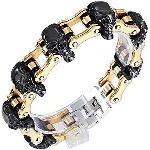 YSM 316L Bracciale in acciaio inox 220 millimetri 18 millimetri del braccialetto del cranio Vintage Larghezza gotica braccialetto (oro + nero)
