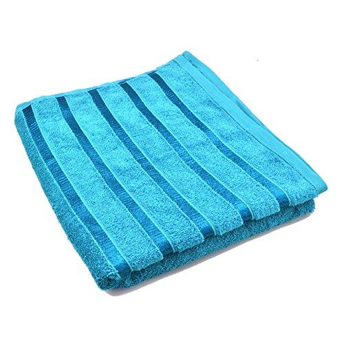 New Badelaken ägyptische 100% Baumwolle Große Handtücher Bale Luxus gekämmte Satin Streifen, 100 % Baumwolle, Blaugrün, 75 x 140 cm Approx. (Streifen-badelaken)