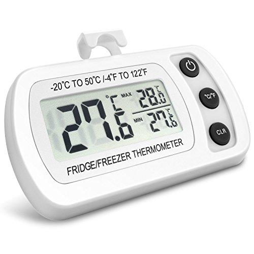 NexGadget Thermomètre Réfrigérateur LCD Digital Thermomètre Congélateur Plage de Mesures Etendue Température de -20°C à +50°C (-4°F à +122°F) Idéal pour Maison, Restaurants, Bars et Cafés