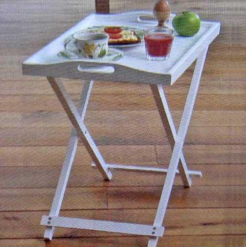 Serviertablett Holz im Landhausstil, Servier Stand Beistell Tisch Tablett, weiß (LHS)