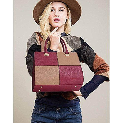 TrendStar Damen Der Frauen-Handtasche Umhängetaschen Konstrukteur Mode Promi-Stil Kunstleder Burgund/Nude Handtasche