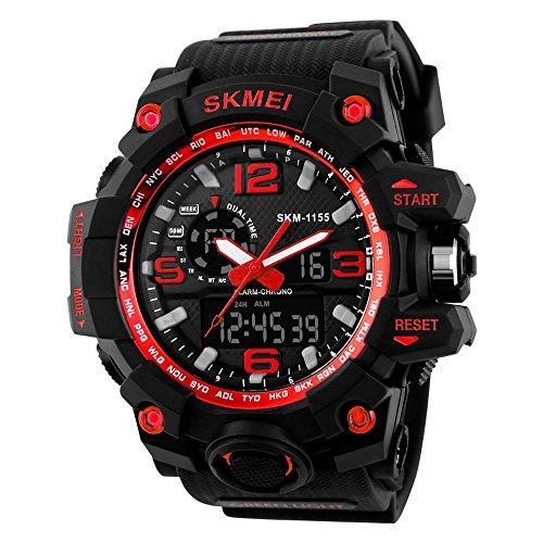 SKMEI Reloj Analógico y Digital con Diseño Deportivo para Hombre Reloj de Pulsera con Alarma y Esfera Grande con luz LED de Fondo