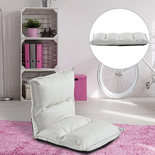 Homcom-Moderna-Poltrona-Pouf-Pieghevole-con-Struttura-in-Acciaio-45-x-55-x-67cm-Bianco