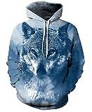 Unisex Jungen 3D Druck Kapuzenpullover Tops Fashion Hoodie Pullover Hooded Sweatshirt(Small/Medium,Fuchs Blau)
