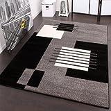Designer Teppich Karo Stil in Grau Schwarz Weiss Top Qualität