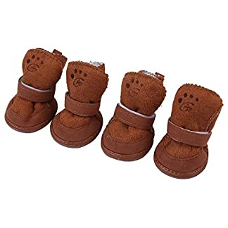niceeshop(TM) 4 Pcs Lovely Pet Dog Puppy Cotton Blend Shoes Winter Snow Warm Walking Boots 51XpucHdJ7L