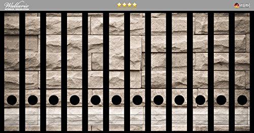 Wallario Ordnerrücken Sticker Steinwand grau-braun in Premiumqualität - Größe 12 x 3,5 x 30 cm, passend für 12 schmale Ordnerrücken
