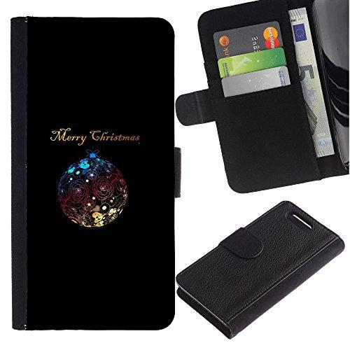 Sony Xperia Z1 Compact / Z1 Mini / D5503 Disegno cuoio stile del raccoglitore della Case caso telefono della pelle custodia - Christmas Minimalist Ball Shiny