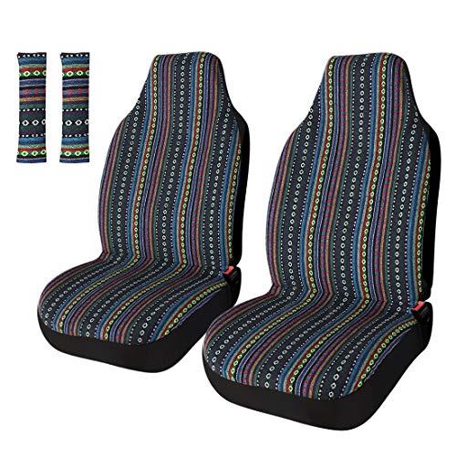 Striped Colorful Sitz Cover Baja blau Satteldecke Weave Universal Eimer Sitz mit Gürtelabdeckung Set