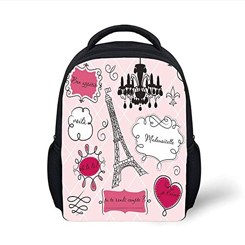 Kids School Backpack Teen Room Decor,Doodle Frames French Style Rococo Baroque Lantern Mademoiselle Print Decorative,Hot Pink Black Plain Bookbag Travel Daypack