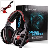 SADES SA903 7.1 Stereo Surround Sound USB PC Mac Gaming Headset Headphones with Mic Volume-Control LED light (Red)