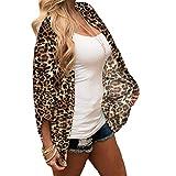 WUSIKY Damen Hemd Chiffon Leopard Print Mantel Kimono Lose Halbe Hülse Schal Strickjacke Vertuschen Tops 2019 Mode Women Top(X-Large,Braun)