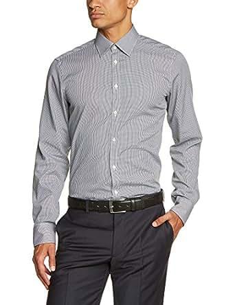 Venti Herren Slim Fit Business Hemd 001860, Gr. Kragenweite: 37, Schwarz (schwarz 800)