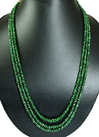 Natural 2/3/4/5/6 Multi Strands Emerald 4mm Size Faceted Beads Necklace Gemstone (Green-3 Strands)