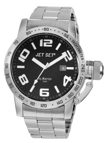 Jet Set - J27573-212 - San Remo - Montre Homme - Quartz Analogique - Cadran Noir - Bracelet Acier Argent