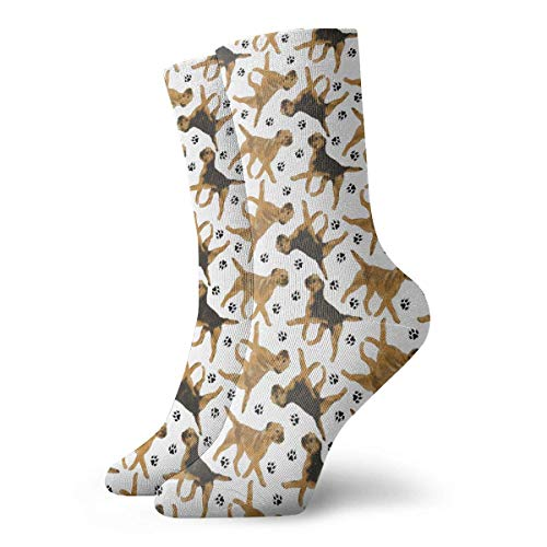 Bgejkos Trotting Border Terriers Crew Socks Funny Novelty Thin Casual Sport Comfort Work 11.8