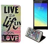 K-S-Trade Für TP-LINK Neffos Y5S 360° Wallet Case Schutz Hülle ''live The Life You Love'' Schutzhülle Handy Hülle Handyhülle Handy Tasche Etui Smartphone Flip Cover Flipstyle für TP-LINK Neffos Y5S