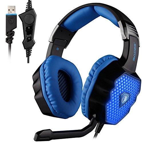 SADES A70 7.1 Surround Sound Stereo PC Gaming Headset Bandeau Casque HiFi Commande du Microphone USB Plug Distance Cool Respiration lumières LED (Noir)