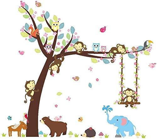 Giow ElecMotive Cartoon Wald Tier AFFE Eulen Igel Baum Schaukel Kindergarten Wandaufkleber Wandmalereien DIY Poster Vinyl Abnehmbare Kunst Wandtattoos für Kinder Mädchen Raumdekoration (Bär Elefa