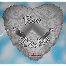 (597) 45.7cm Globo Metalizado Plata Corazón Best Deseos con Campanas Boda Fiesta