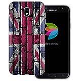 dessana England Transparente Silikon TPU Schutzhülle 0,7mm dünne Handy Tasche Soft Case für Samsung Galaxy J7 (2017) England Flagge