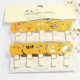 Naisidier 10 Pezzi Mini pinzette in Legno, Clip di Carta Foto Clip Art Mini Clip con Corda di (Stile Smiley Arancione)
